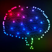 Circuit board computer style brain vector technology background. EPS10 illustration with abstract circuit brain — 图库矢量图片