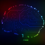 Circuit board computer style brain vector technology background. EPS10 illustration with abstract circuit brain — Stockvektor