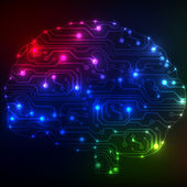 Circuit board computer style brain bitmap technology background — Stock Photo
