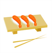 Sushi and Chinese sticks — Stock Vector