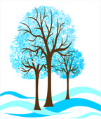 Tree in snow — Stock Vector