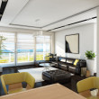 Foto Stock: Sea View Bright Living Room