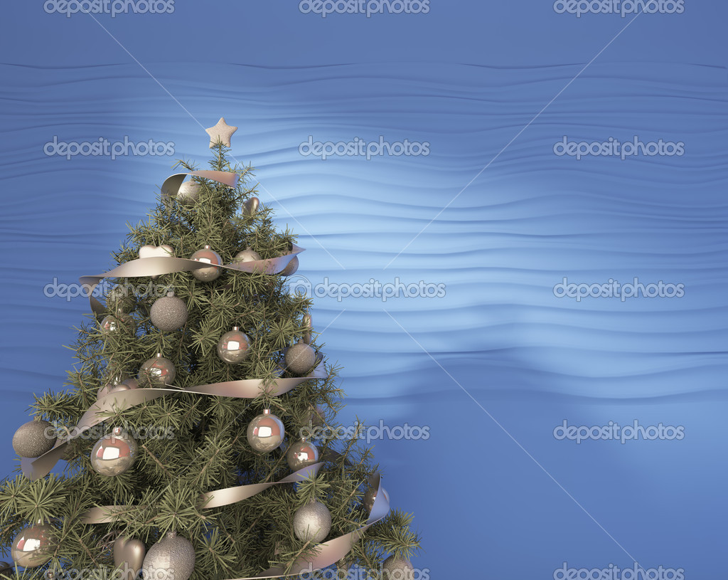 Christmas Tree On A Blue Background — Stock Photo #14868953