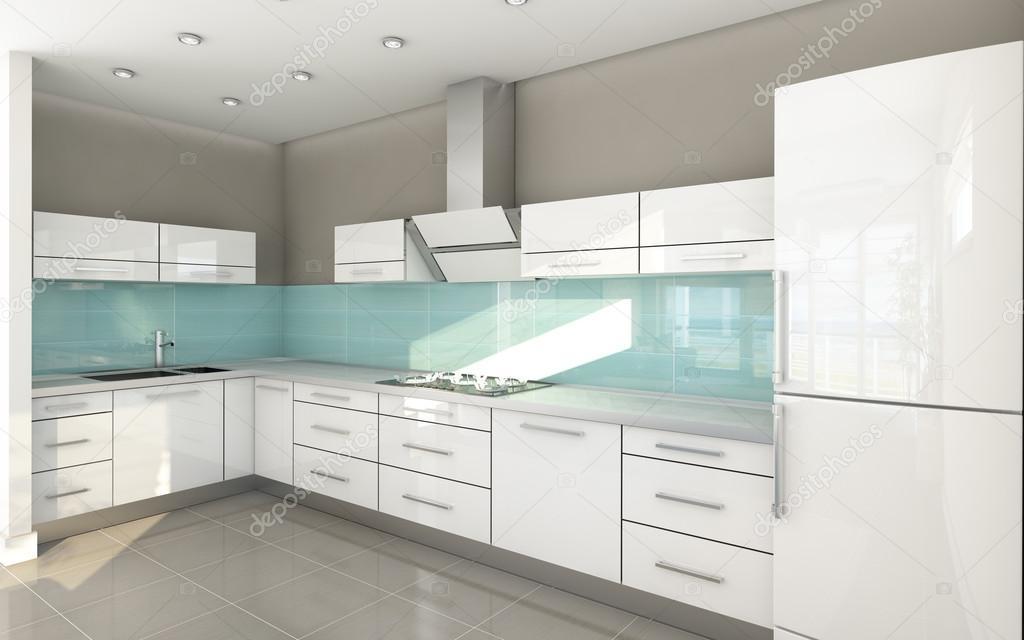 Licht blauw wit open keuken — stockfoto © krooogle #14869025