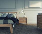 Schlafzimmer in Holz — Stockfoto