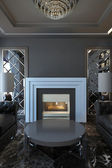 Modern fireplace — Stock Photo