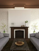 Fireplace and sofas — Stock Photo