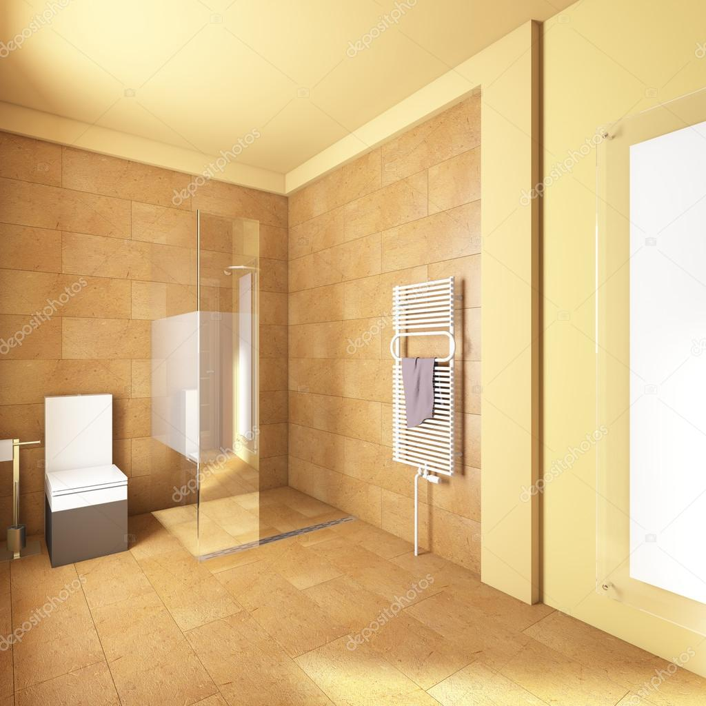 Yellow bathroom with sand tiles  Stock Photo #17196667