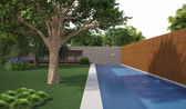 Tree near swiming pool — Stock Photo