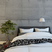 Bed In Modern Concrete Room — Stock Photo