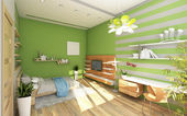 Teen's Room With Colored Wall — Stock Photo