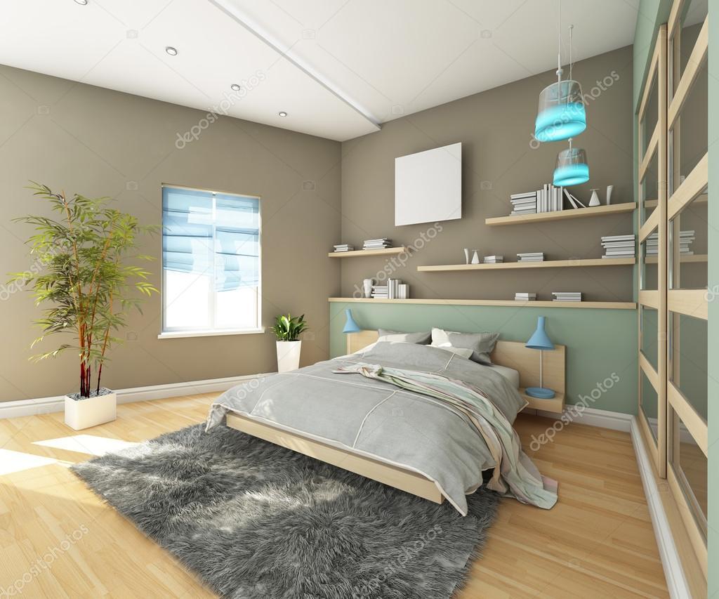 Tiener slaapkamer met grijze tapijt — Stockfoto © krooogle #19606519