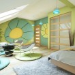 Bright Children Room On Attic - Stock Photo