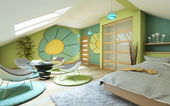 Bright Children Room On Attic — Stock Photo
