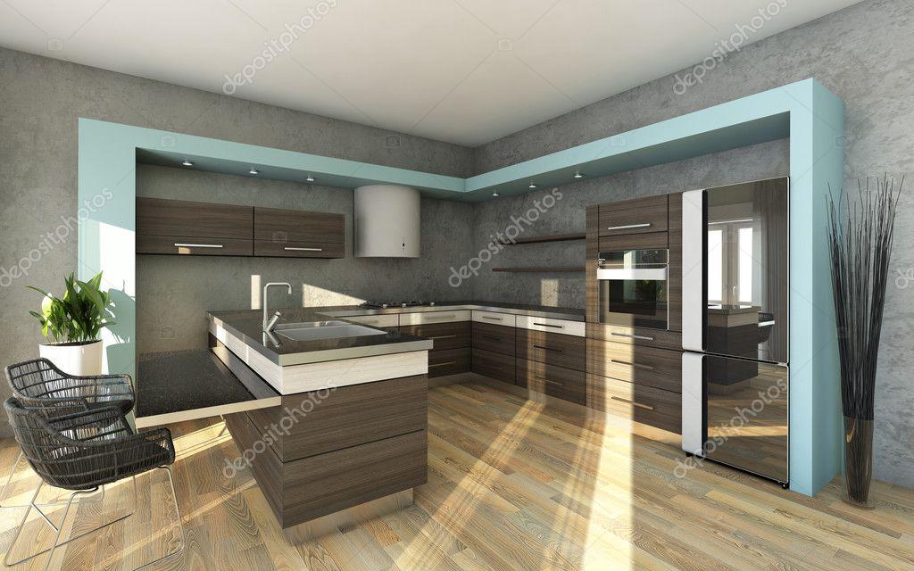 Moderne Küche in den Farben grau und blau — Stockfoto © krooogle ...