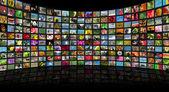 Telecommunication and monitor — Stock Photo