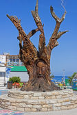 Tree carved at matala, Crete — Stock Photo