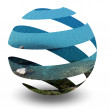 Circle Spiral Sphere with crystal clear sea — Stock Photo