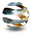 Circle Spiral Sphere with clouds — Stock Photo