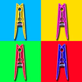 Four colorful psycho clothespin — Stock Photo