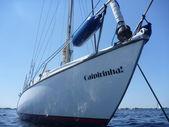 Anchored sailing yacht Caipirinha — Stock Photo