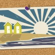 Beach Postcard On Noticeboard 4 — Image vectorielle