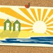 Beach Postcard On Noticeboard 3 — Image vectorielle