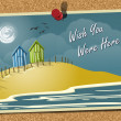 Beach Postcard On Noticeboard 1 — Stock Vector