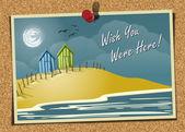 Beach Postcard On Noticeboard 1 — Stock Vector