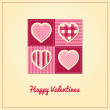 Valentines Card - Stitched Hearts — Stock Vector