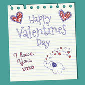 Happy Valentines Day Doodle On Notepaper — Stock Vector