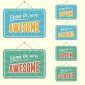 Shop Signs, Open Closed and Awesome — Stock Vector