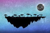 Silueta safari plovoucí ostrov se stromy a zvířata — Stock fotografie