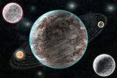 Neue Planetensystem, kosmische abstrakt mit Planeten ein — Stockfoto