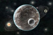 New Planetary System, Abstract cosmic background with planets an — Zdjęcie stockowe