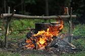 Comida no fogo — Foto Stock