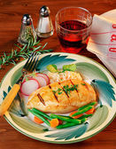 Chicken Filet in a Wooden Table — Stock Photo