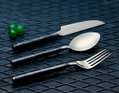 Industrial Polished Cutlery — Stock Photo