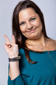 Victorious Mature Woman Showing Victory Sign — Stock Photo