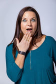 Surprised Mature Woman Covering her Mouth by Hand — Stock Photo