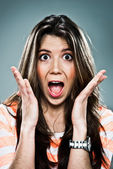 Young Woman with Surprise Expression — Stock Photo