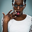 Young Black Woman with Surprise Expression — Stock Photo
