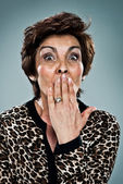 Mature Woman with Surprise Expression — Stock Photo