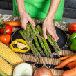 Royalty-Free Stock Photo: Woman Hands Preparing Raw Veggies