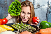Young Woman Playing with Veggies — Stock Photo