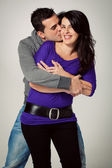 Casual Couple Embracing and Kissing — Stock Photo