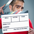 Man with a Cinema Slate — Stock Photo