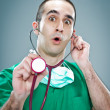 Mad Doctor with a Stethoscope — Stockfoto