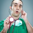 Mad Doctor with a Stethoscope — Stock Photo