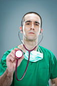 Mad Doctor with a Stethoscope — Стоковое фото